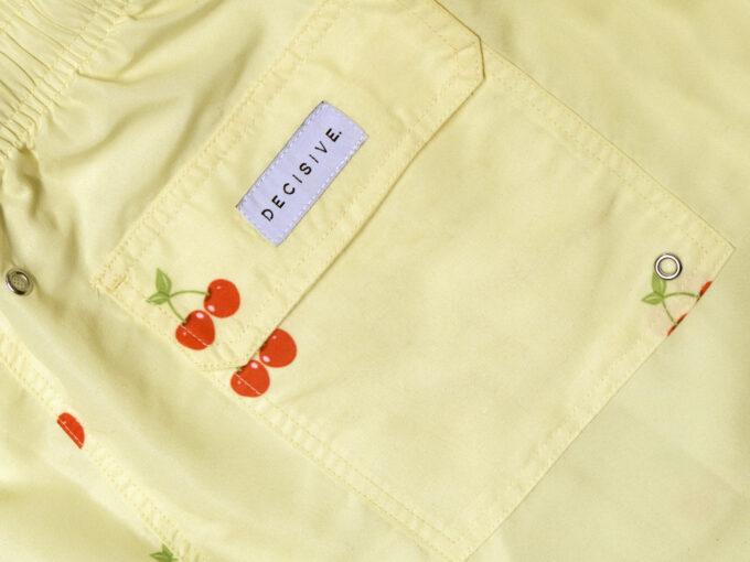 Cherry Yellow Swim shorts pocket