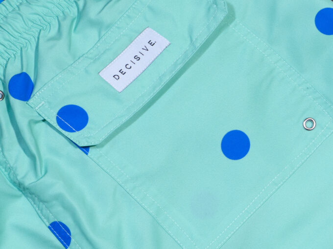 Dots Green Swim shorts pocket