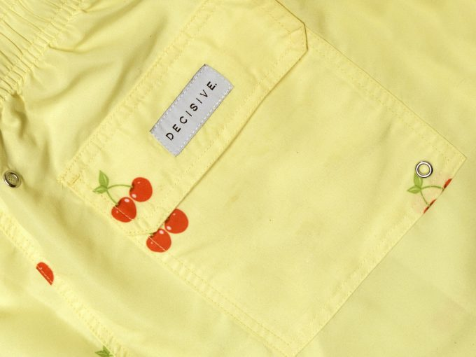 Cherry Yellow Swim Shorts pocket