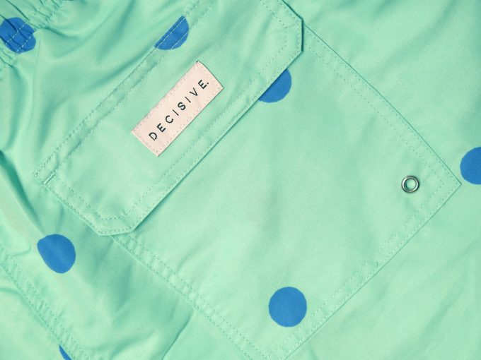 Dots Green Swim Shorts pocket