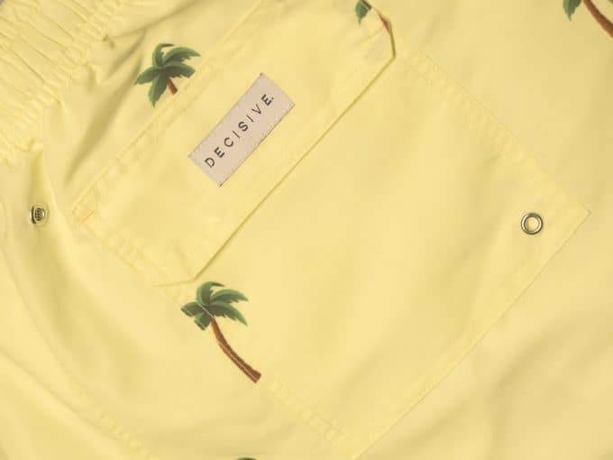 Palm Yellow Swim Shorts Pocket