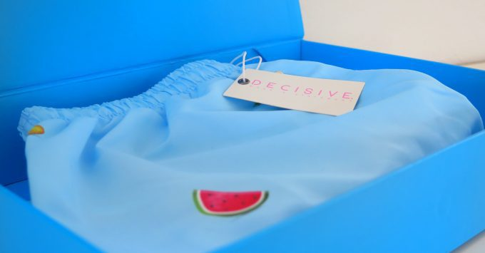 Personalized swim shorts by Decisive Beachwear