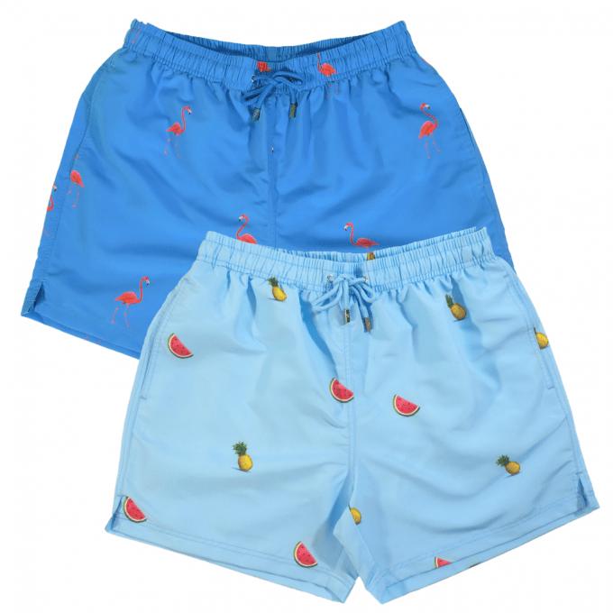 Flamingo watermelon pineapple swim shorts blue lagoon