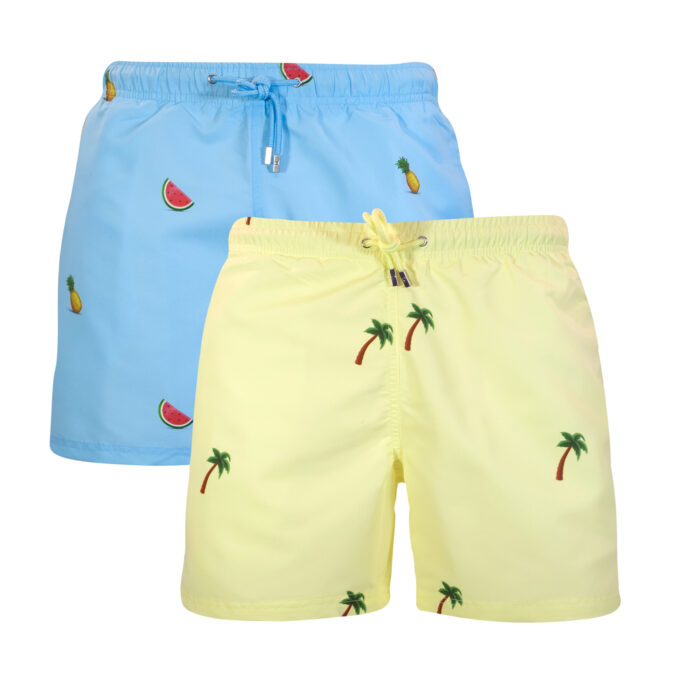 Palm watermelon pineapple tropical swim shorts