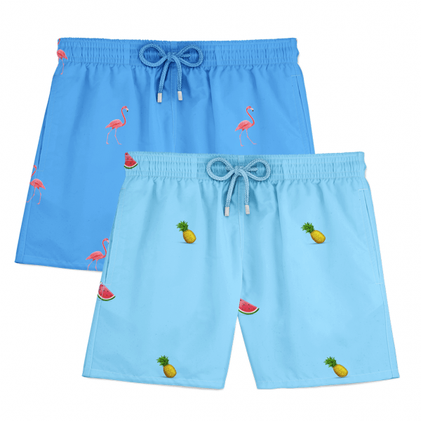 Flamingo watermelon pineapple swim shorts blue lagoon