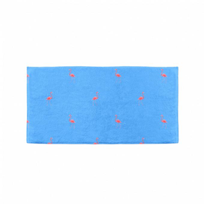 Ibiza blue flamingo towel flat
