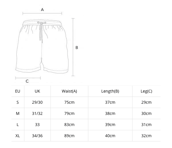 New swim shorts size guide