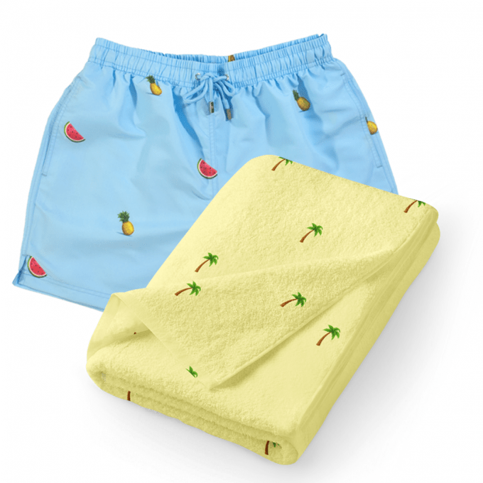 Tropical Swim Shorts Towel Set