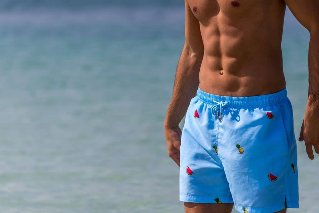 blue pineapple watermelon designer swim shorts