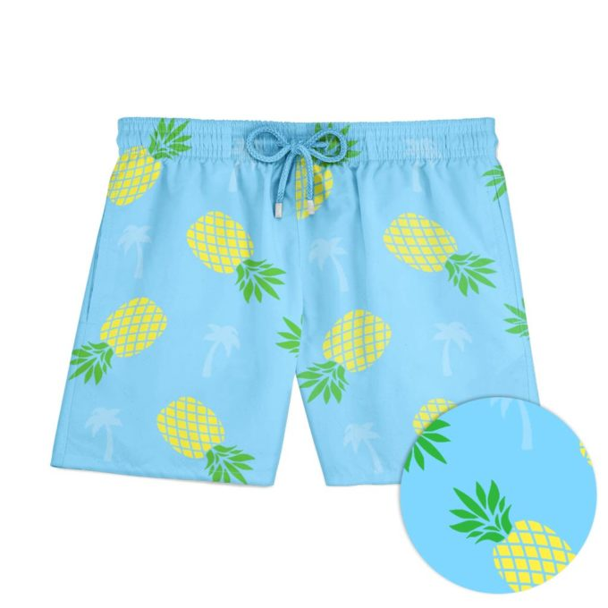 Pineapple Palm Swim Shorts Blue