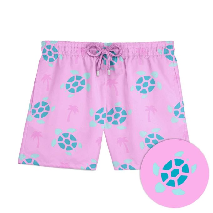 Pink Turtle Palm Swim Shorts