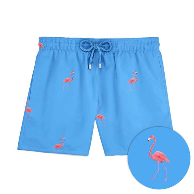 Blue flamingo swim shorts