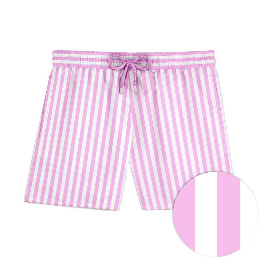 Pink striped swim shorts