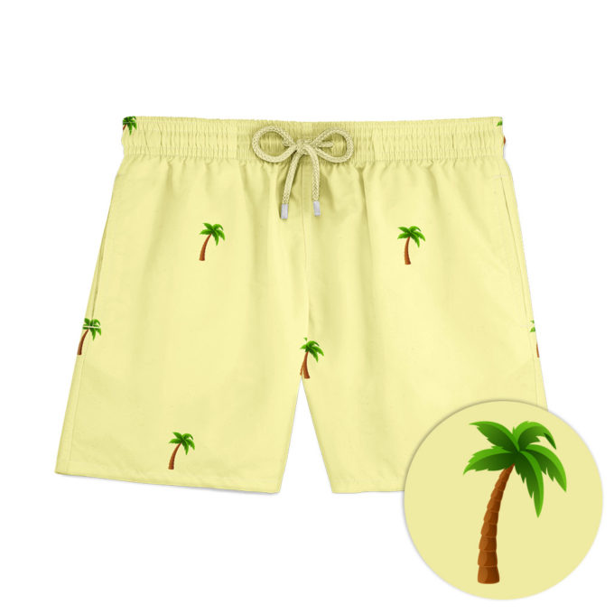Yellow palm swim shorts