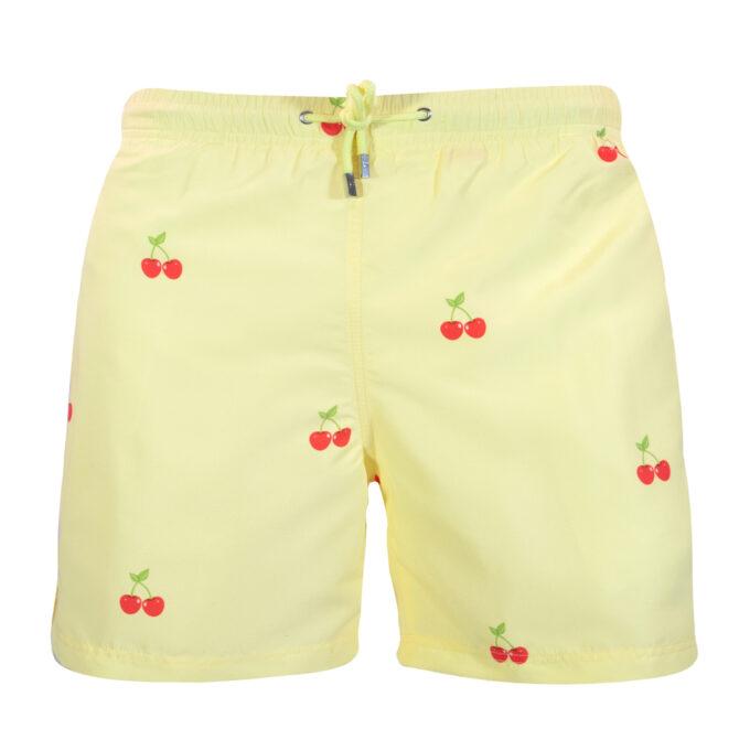 Yellow cherry swim shorts