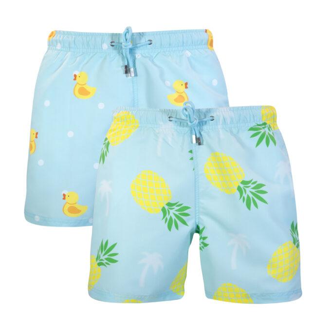 Mint pineapple palm ducks swim shorts