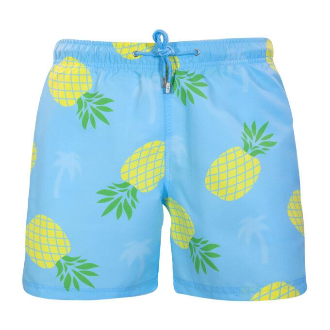 Pineapple Palm Swim Shorts Blue