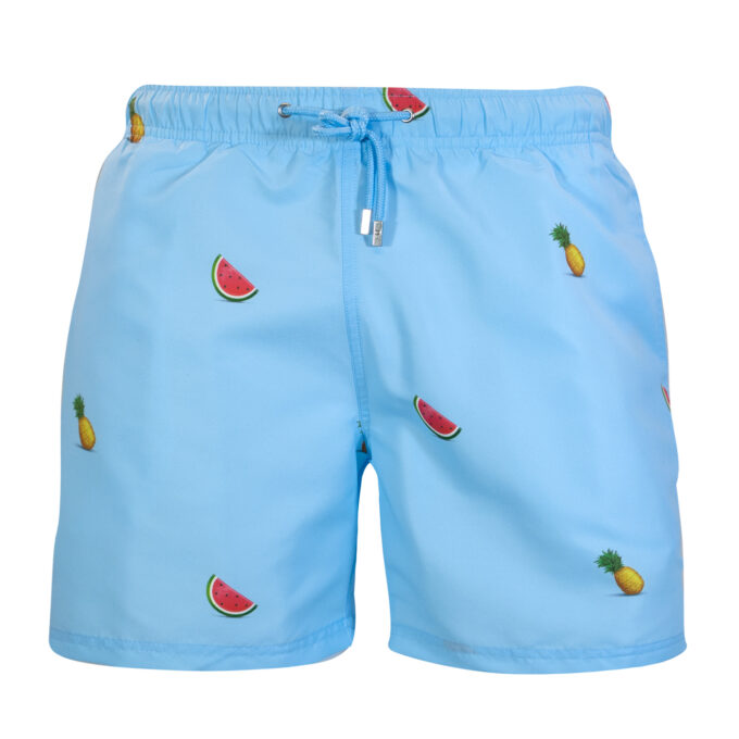 Blue pineapple watermelon swim shorts