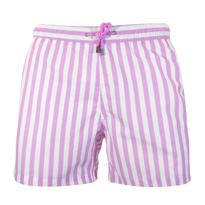 Pink striped swim shorts