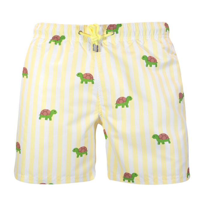 Yellow Striped Turtle Swim Shorts