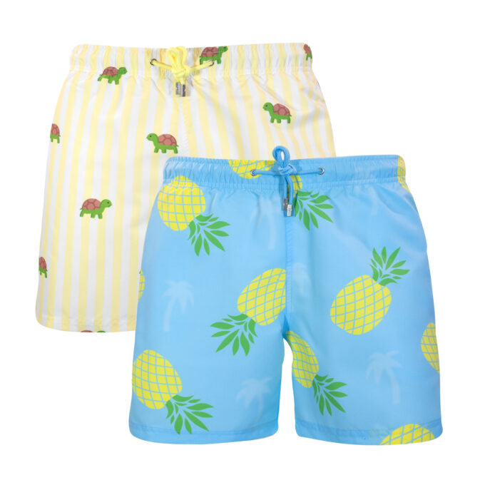 Pineapple palm striped turtle swim shorts